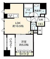 都営浅草線 東銀座駅 徒歩8分の賃貸マンション 4階1LDKの間取り