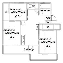 稲毛団地16号棟[3階]の間取り