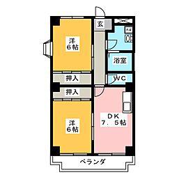 ハイネスR&T[2階]の間取り