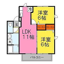 兵庫県姫路市広畑区城山町の賃貸アパートの間取り
