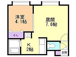 ヤノネMS 2階1LDKの間取り