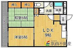 西鉄貝塚線 和白駅 徒歩3分の賃貸マンション 3階2LDKの間取り