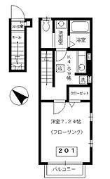 東京都文京区白山4丁目の賃貸アパートの間取り