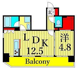 東京メトロ日比谷線 三ノ輪駅 徒歩6分の賃貸マンション 11階1LDKの間取り