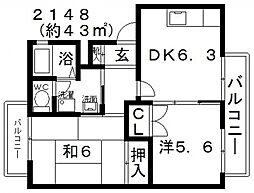 リヒテン白江[202号室号室]の間取り