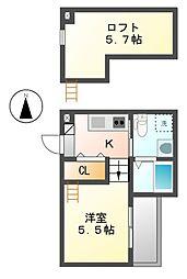 愛知県名古屋市中村区諏訪町1丁目の賃貸アパートの間取り