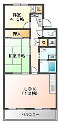 マンション宮木[4階]の間取り