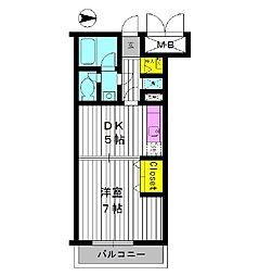 東京都中野区江原町の賃貸マンションの間取り