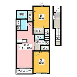 プレシアスフィールドB[2階]の間取り