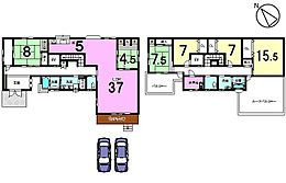土地面積91.55坪、6LDKの2世帯住宅です。37帖のLDKは必見です