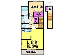 愛媛県松山市道後北代の賃貸アパートの間取り
