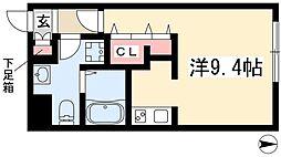 Branche桜山III 3階ワンルームの間取り