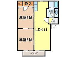 静岡県富士市富士岡の賃貸アパートの間取り