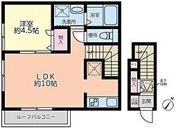 東急池上線 旗の台駅 徒歩10分の賃貸アパート 2階1LDKの間取り