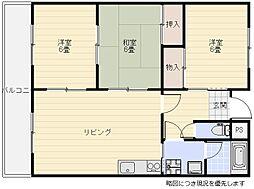 大阪府吹田市長野西の賃貸マンションの間取り