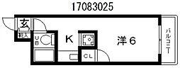 カネジョウハイツ[2階]の間取り