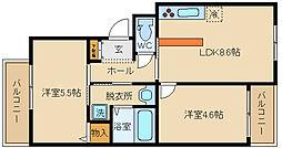シヤンス東山本[201号室]の間取り