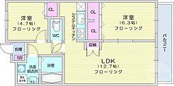 JR東北本線 南仙台駅 徒歩29分の賃貸マンション 6階2LDKの間取り