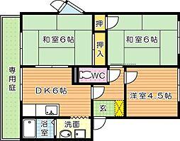 ソレム本城 B棟[1階]の間取り