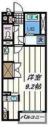 埼玉高速鉄道 浦和美園駅 徒歩14分の賃貸アパート 2階ワンルームの間取り