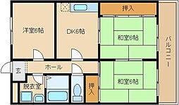 椋風苑A・B棟[B302号室]の間取り
