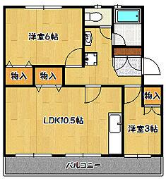 兵庫県神戸市北区北五葉6丁目の賃貸マンションの間取り