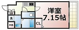 JPレジデンス大阪城東3 4階1Kの間取り
