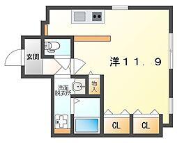 J-Style Doi 3階ワンルームの間取り