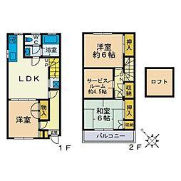 [テラスハウス] 神奈川県海老名市中新田4丁目 の賃貸【/】の間取り