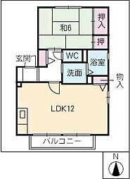 ボナール西口B棟[2階]の間取り