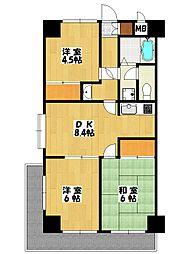 ハイブリッジソシア[4階]の間取り