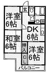 東京都羽村市緑ヶ丘1丁目の賃貸マンションの間取り