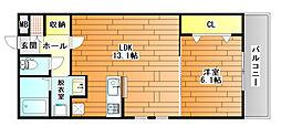 近鉄南大阪線 藤井寺駅 徒歩9分の賃貸アパート 3階1LDKの間取り