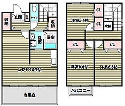 [テラスハウス] 大阪府堺市南区庭代台4丁 の賃貸【/】の間取り