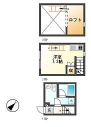 愛知県名古屋市熱田区大瀬子町の賃貸アパートの間取り