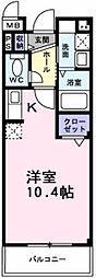 南海高野線 萩原天神駅 徒歩4分の賃貸マンション 1階1Kの間取り