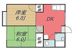 千葉県佐倉市大崎台3丁目の賃貸アパートの間取り