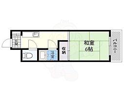 第12いほり都島マンション 2階1Kの間取り
