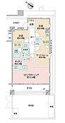 間取図/1階部分南西角部屋 専有面積68.83m2 テラス面積11.70m2 専用庭30.91m2