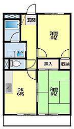 愛知県豊田市大林町2丁目の賃貸アパートの間取り