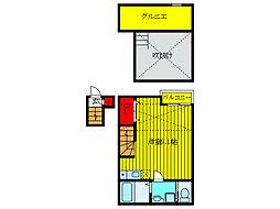 JR京浜東北・根岸線 上中里駅 徒歩7分の賃貸アパート 2階ワンルームの間取り