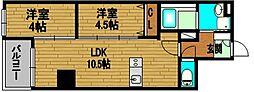 インペリアルスイート南堀江[903号室]の間取り