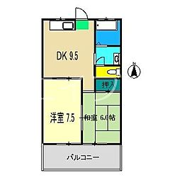 スカイハイツ福井[3階]の間取り