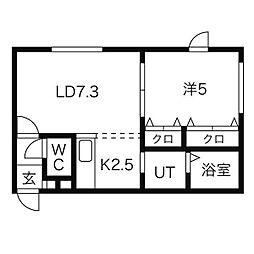北海道札幌市東区北10条東の賃貸マンションの間取り