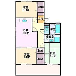 埼玉県富士見市ふじみ野西3丁目の賃貸アパートの間取り
