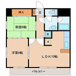 仙台市営南北線 北四番丁駅 徒歩5分の賃貸マンション 10階2LDKの間取り