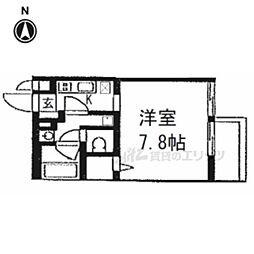 ウェルスクエア京都西陣 3階1Kの間取り