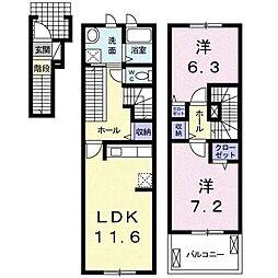 静岡県富士市久沢の賃貸アパートの間取り