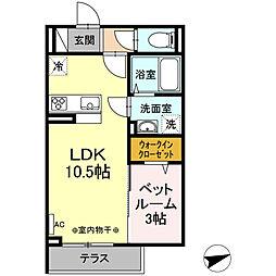 JR中央本線 甲府駅 徒歩12分の賃貸アパート 1階1LDKの間取り