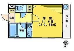 クインズ二階堂[201号室]の間取り